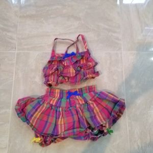 Buster brown 2 piece baby top and skirt 3t